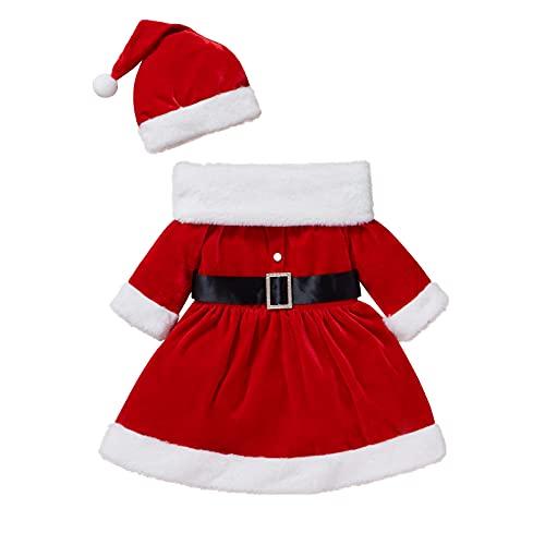 WangsCanis Disfraz de Navidad para niño, niña, vestido de payaso completo de terciopelo suave y cálido, vestido para fiesta de Navidad Año Nuevo 0 – 4 años, Vestido de 3 piezas, 3-4 años