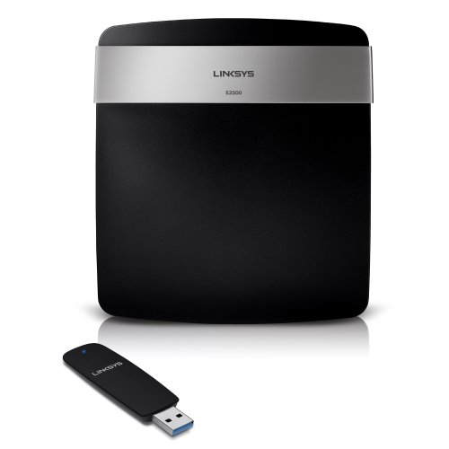 Linksys E2500 Advanced Simultaneous Dual-Band Wireless-N Router and N600 Dual Band Adaptor Bundle (E2525),Black silver