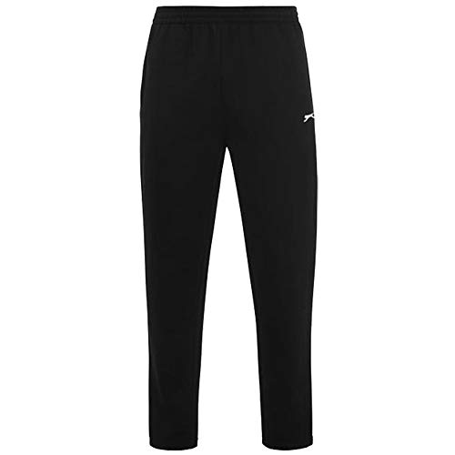 Slazenger Heren Casual Joggingbroek Open Hem Fleece Broek (XXX-Large, Zwart)