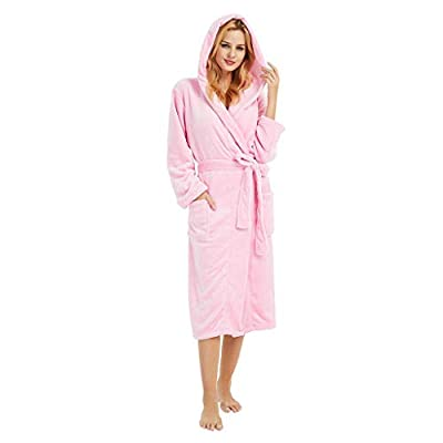 Women's Robe Fleece Hooded Bathrobe Soft Plush Comfy Soft Kimono Robe Sleepweer with Pockets