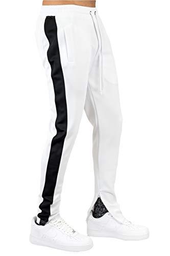 BLEECKER & MERCER Mens Hip Hop Premium Slim Fit Drawstring Track Jogger Pants Side Stripe Taping Zipper Bottom (P805A-WHITE/Black Side, S)
