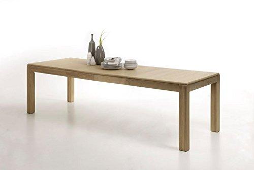 Dreams4Home Esstisch massiv \'Yascha\' Eiche Bianco Tisch Esszimmertisch Esstisch Massivholz Breite 160 (260) cm, mit Auszug
