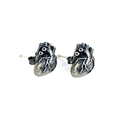 LINLIN Stud Pendientes S925 Plata Retro Personalidad Corazón Perforación Hipoalergénica Alternativa Joyería del Oído Unisex 2 Unids