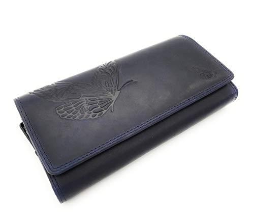 Jockey Club echt Leder Geldbörse lang Portemonnaie Geldbeutel Sauvage Leder mit RFID Schutz Schmetterling (Blau)