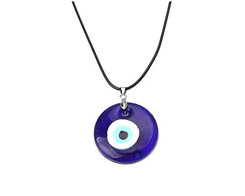 Evil Eye Pendant Necklace Glass Leather Rope Chain Turkish Protact Lucky Necklace for Women Men