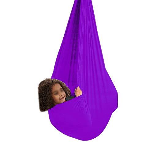 zyy Columpio De Hamaca For Niños Ideal For Autismo TDAH SPD Aspergers E Integración Sensorial Hamacas Acurrucado Carga 200 Kg (Color : Purple, Size : 150x280cm/59x110in)