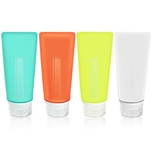 GLUBEE Reise-Flaschen, 89 ml, Silikon, nachfüllbar, Reisebehälter, 4 Stück, zusammendrückbar, Reisezubehör mit Tasche für Toilettenartikel, Flüssigkeiten, Shampoo und Lotion