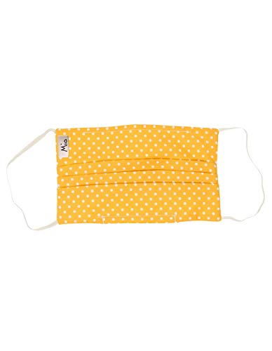 Mio HB4 Yellow and White Polka Dot Cotton Face Mask with Removable Nose Wire One Size