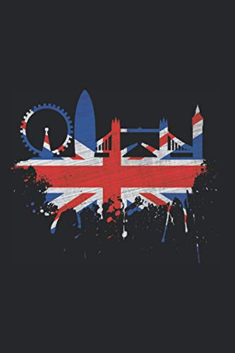 London Skyline Notizbuch: London Skyline Union Jack Flagge GB Ich Liebe England Fahne (Liniert, 15 x 23 cm, 120 Linierte Seiten, 6