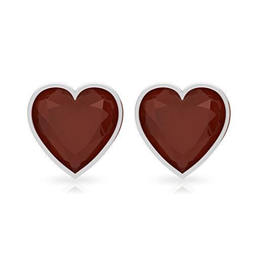 Pendientes de tuerca de ónix rojo con certificación SGL de 3 quilates, forma de corazón, pendientes de declaración de piedra preciosa, pendientes de boda, pendientes de boda 18K Oro rosa, Par