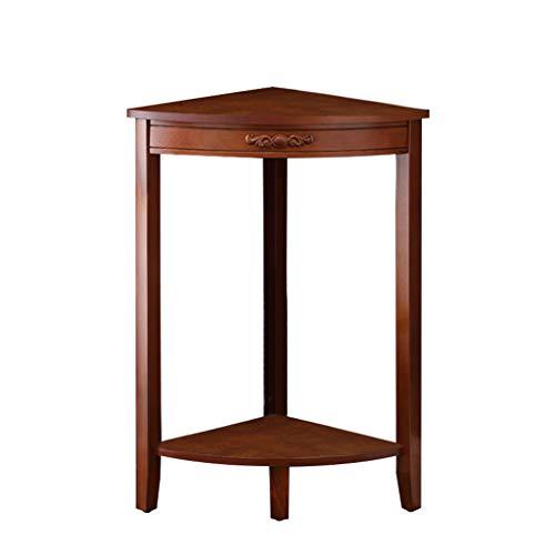 ZHEN GUO 2-Tier Tavolino da Salotto in Legno Piccolo Tavolo in Legno da scaffale con scaffalature elettriche Lampada da Tavolo Corrimano Pianta Stand Mobili per Sala (Colore : Marrone)