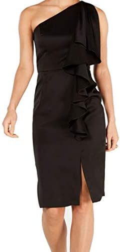 Vince Camuto Womens Ruffled Midi Cocktail Dress Black 6 product image