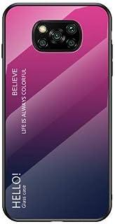 Xiaomi Poco X3 ケース Poco X3 NFC 背面ケース ガラスフィルムバックパネル付き ストラップホール 強化ガラス背面カバー付き Xiaomi Poco X3 カバー リングスタンド付属 PX3-JB-21005 (ローズパ...