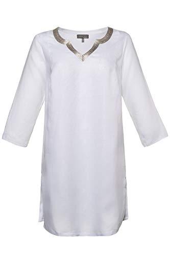 Ulla Popken Femme Grandes Tailles Tunique Longue en Lin Broderie Base évasée Blanc 44/46 721718 20-42+