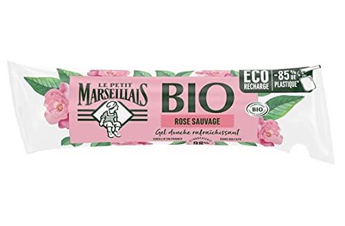 Le Petit Marseillais Berlingot Recharge Gel Douche Bio Hydratant, au PH Neutre, Rose Sauvage, 250ml