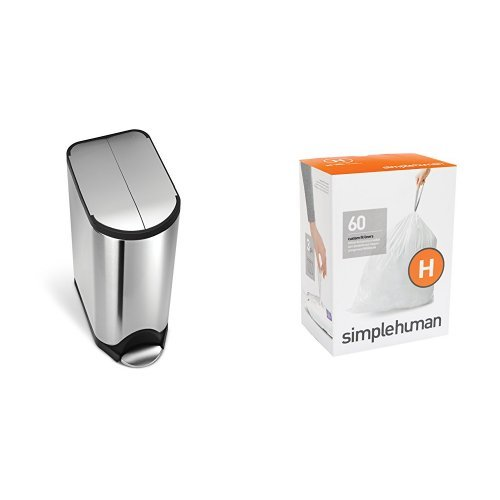 simplehuman 30 litre butterfly step can fingerprint-proof brushed stainless steel + code H 60 pack liners