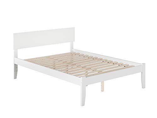 Atlantic Furniture AR8131002 Orlando Platform Bed with Open Foot Board, Full, White