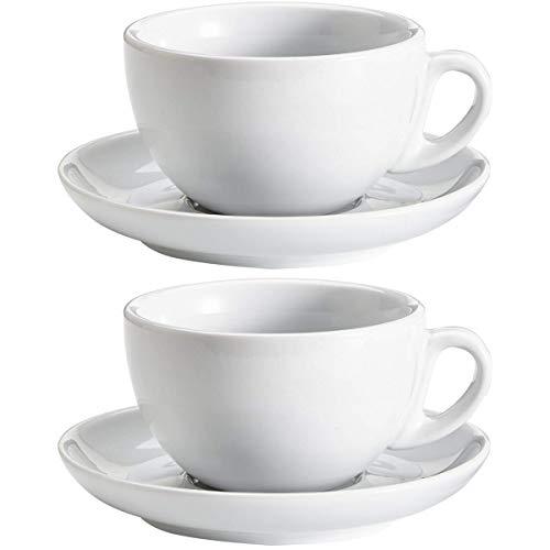 Viva Haushaltswaren - Set da 2 Tazze da Cappuccino in Porcellana, 0,28 l, Colore: Bianco
