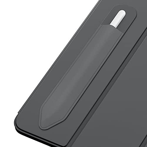 MoKo Elastisch Stifthalter Kompatibel mit Apple Pencil 1/2, Stylus Hülle Rückseite Aufkleber für iPad 8. Gen 2020/7. Gen 10,2undiPad Air 4. GenundiPad Pro 11/12,9 2021/2020, Dunkel Grau