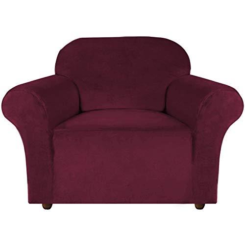 XDKS Fundas de sofá de terciopelo elástico, hechas de terciopelo grueso y cómodo, para 3 fundas de cojín de sofá con correas antideslizantes debajo de los muebles (1 plaza/silla, color rojo vino)