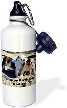 GFGKKGJFD612 Wasserflasche mit englischer Bulldogge, Happy Birthday Daddy, Aluminium, Weiß