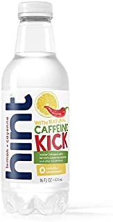 Hint Kick With Caffeine Water, Lemon Cayenne, (Pack of 12) 16 Ounce Bottles, Caffeinated Water, Apple Pear infused, Zero Sugar, Zero Calories, Zero Sweeteners, Zero Artificial Flavors