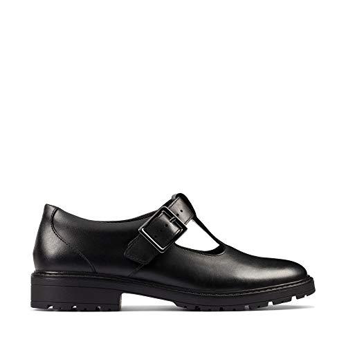 Clarks Loxham Shine Girls Senior School Shoes 35.5 Negro