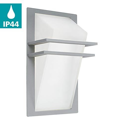 EGLO Außen-Wandlampe Park, 1 flammige Außenleuchte, Wandleuchte aus Aluguss und Glas, Farbe: Silber, weiß, IP44