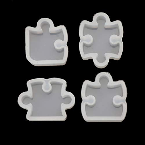 ZJL220 4 piezas puzzles de piedras preciosas, forma de cristal, molde de silicona, para hacer joyas y colgantes