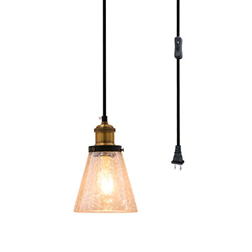 SYDTOP Modern Mini Pendant Light, Hand Blown Amber Crackled Glass Shade with 13Ft Plug in Cord and On/Off Switch, Vintage Edison Farmhouse Hanging Lamp for Kitchen Island Dining Room Bedside Corner
