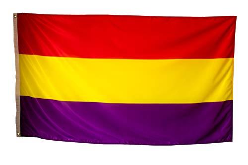 Bandera Republicana Española Grande Exterior de Tela Fuerte Impermeable Resistente a la Intemperie, Bandera Republica 150x90 cm