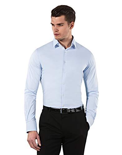 Vincenzo Boretti Herren-Hemd Body-Fit (besonders Slim-fit tailliert) Uni-Farben bügelleicht - Männer lang-arm Hemden für Anzug Krawatte Business Hochzeit Freizeit eisblau 41-42