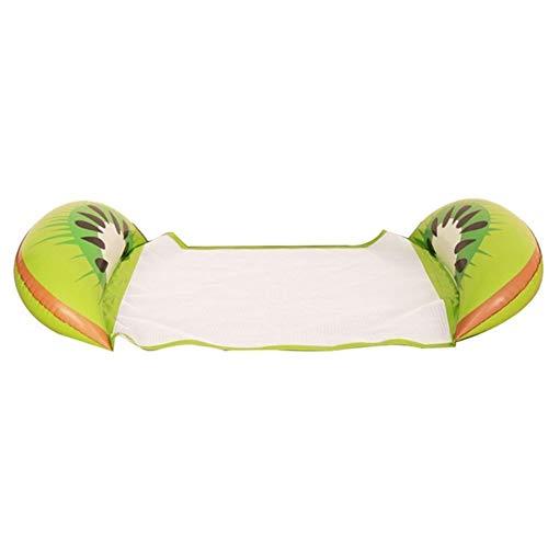 HYDT PVC Hamaca reclinable Agua Inflable de natación Cama de la Cama Flotante del Amortiguador de Aire Silla de natación Cama Inflable Plegable (Color : Kiwi 126 X 73cm)