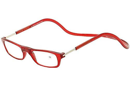 CliC Original Adjustable Front Magnetic Connect Reading Glasses; Red