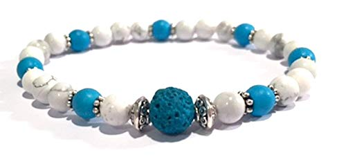 Handmade Turquoise Dyed Lava Rock (Basalt), Blue Howlite and White Howlite Diffuser Healing Bracelet 7 Inches