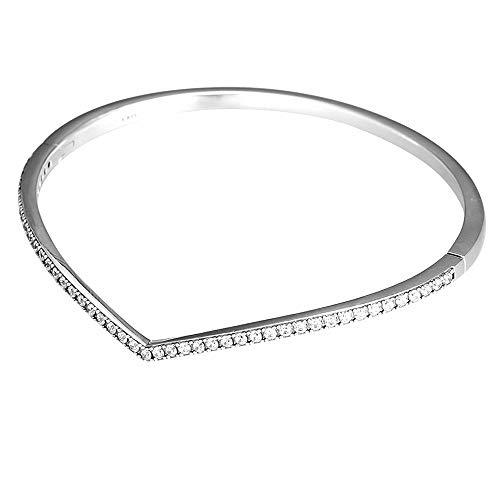 CHICBUY 2019 Spring Shimmering Wish Bangle Bracelet 925 Silvler DIY Fits for Original Pandora Bracelets Charm Fashion Jewelry (19CM)