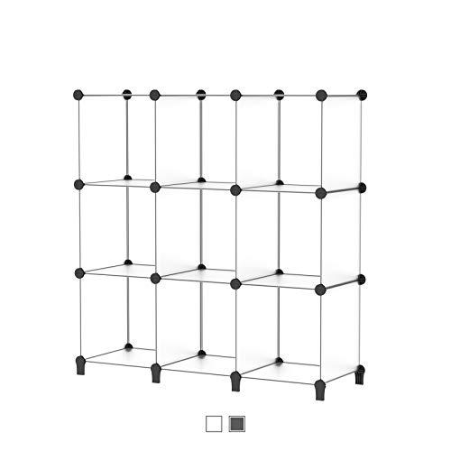 SIMPDIY Storage Cubos modulares 9 Cubos Transparente (93x93x30cm) Organizador portátil de plástico Estantería Estante Estante…