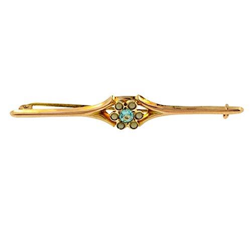 Broche de oro rosa antiguo de 9 quilates con perla de circonita azul (57 mm de longitud)