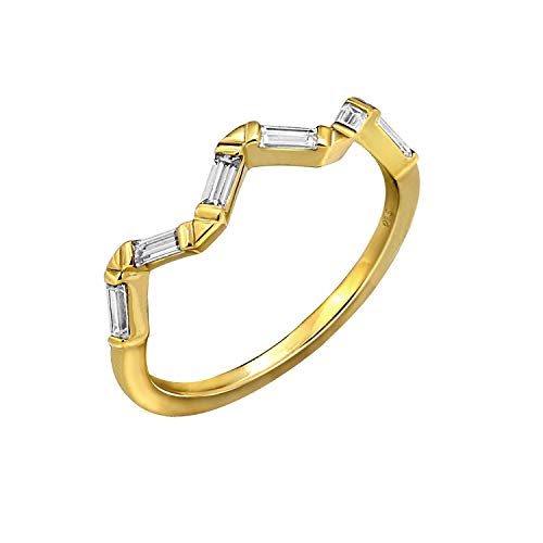 KIERA COUTURE RING BAR White Baguette Cut Yellow Gold Plated Sterling Silver Wavy Stackable Ring Size 8