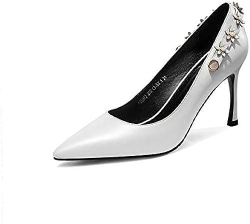 HommesGLTX Talon Aiguille Talons Hauts Sandales 1New femmes Classic Pumps en Cuir Véritable Quatre Saisons Talons Hauts Chaussures Femme Pointu Toe Rivet Parti Chaussures De Danse