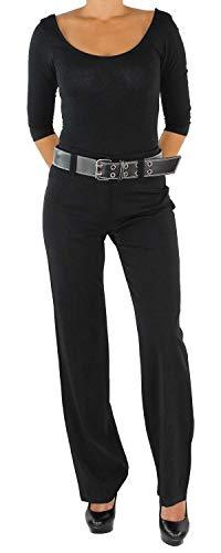 Damen Business Hose+Gürtel Schlaghose Stoffhose Bootcut Elegant Classic Schwarz 34