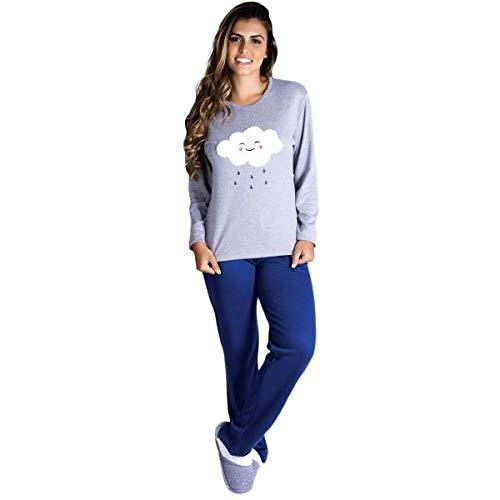 Pijama feminino de inverno com forro peluciado Victory