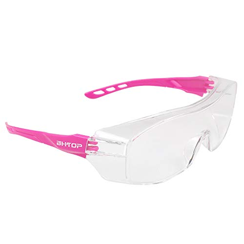BHTOP Safety Glasses 8058 Protective Eye Wear, Scratch Wraparound Clear Lens Anti-Fog Goggles,UV Protection Industrial Approved Wide-Vision in Pink