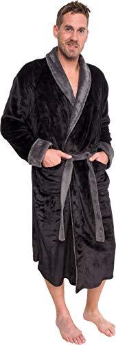 Ross Michaels Mens Plush Shawl Collar Kimono Bathrobe Robe (Black & Grey, L/XL)