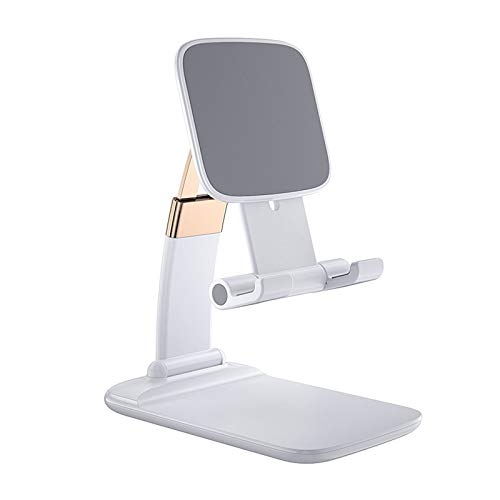 Foldable Lifting Cell Phone Stand for Desk, Portable Aluminum Phone Holder, Adjustable Phone Dock Cradle Compatible with 4.7-10.5in iPhone/iPad/Samsung Galaxy, Ebook Reader (White)