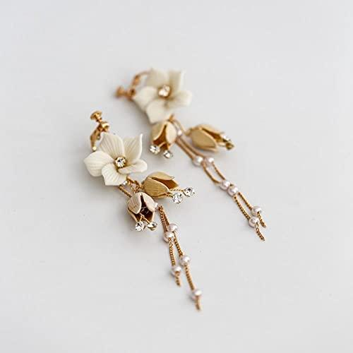 Peines_de_cabello - Peines para el pelo de boda con cristales y perlas, para mujer, joya para el pelo, novia, con oro de porcelana y pendientes de flor