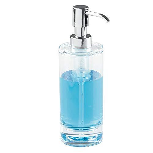 iDesign Dispensador de jabón rellenable, bote dosificador de plástico para 295 ml, dosificador de jabón líquido o crema, transparente y plateado