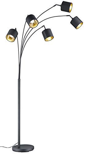 Reality Leuchten Bogenleuchte Tommy R46330579, Metall, Schwarz matt, Stoffschirme schwarz / goldfarbig