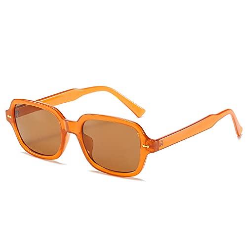 YHKF Gafas De Sol Clásicas Unisex De Montura Pequeña De Gafas Vintage De Moda para Mujer Uv400-Tea
