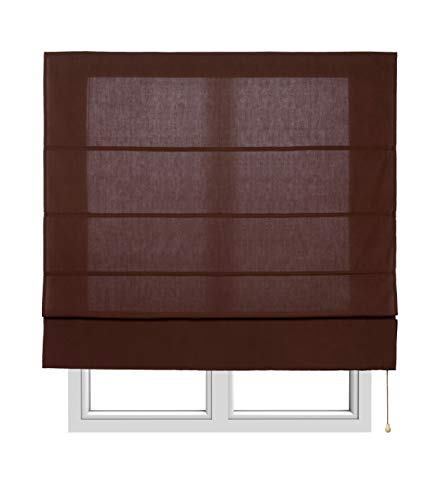 Estores Basic, Stor plegable con varillas, Chocolate, 90x175cm, estores para ventana, estores plegables.